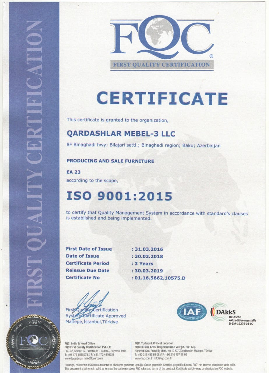 İSO 9001 Setfikatı