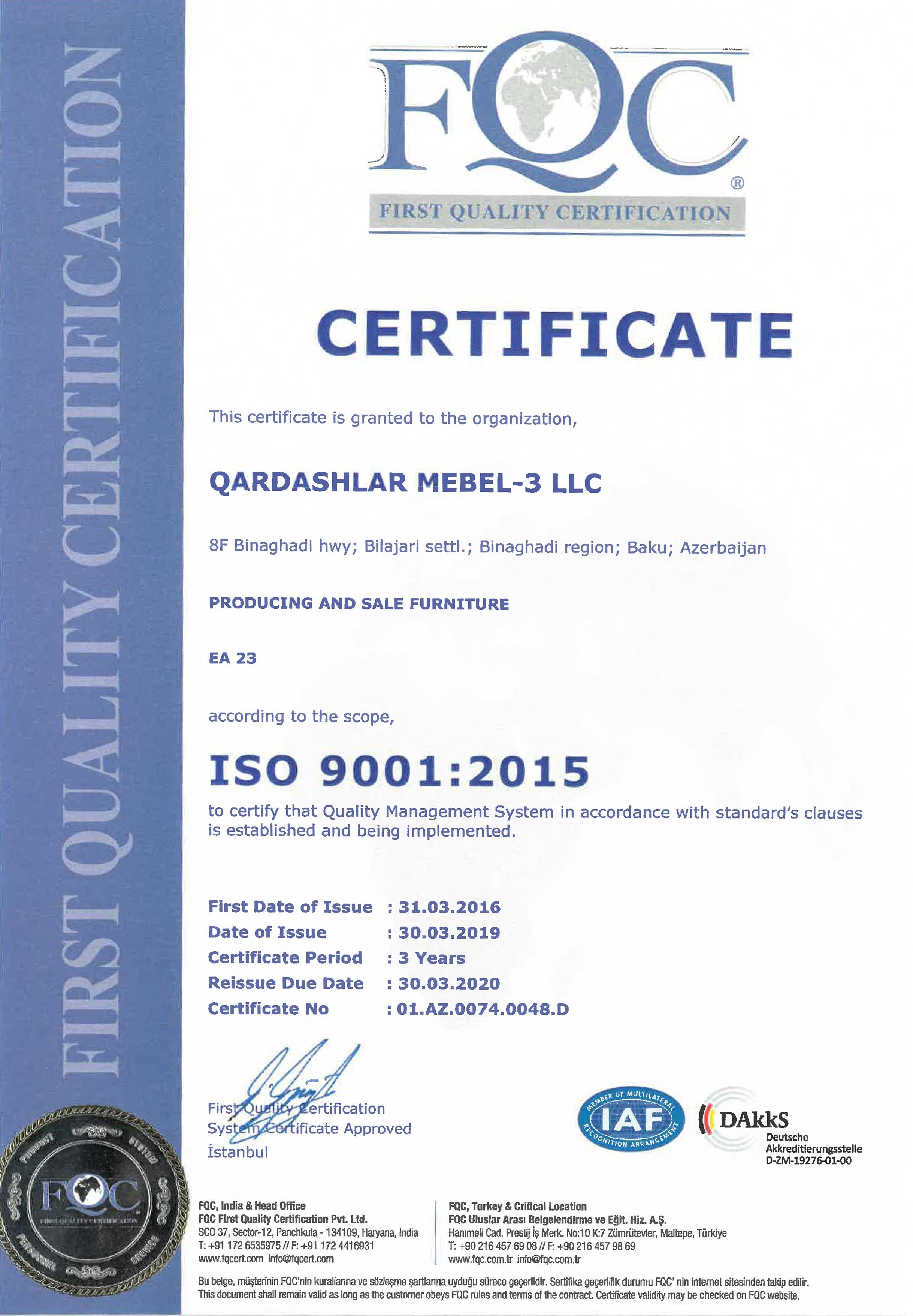 İSO 9001 certificate