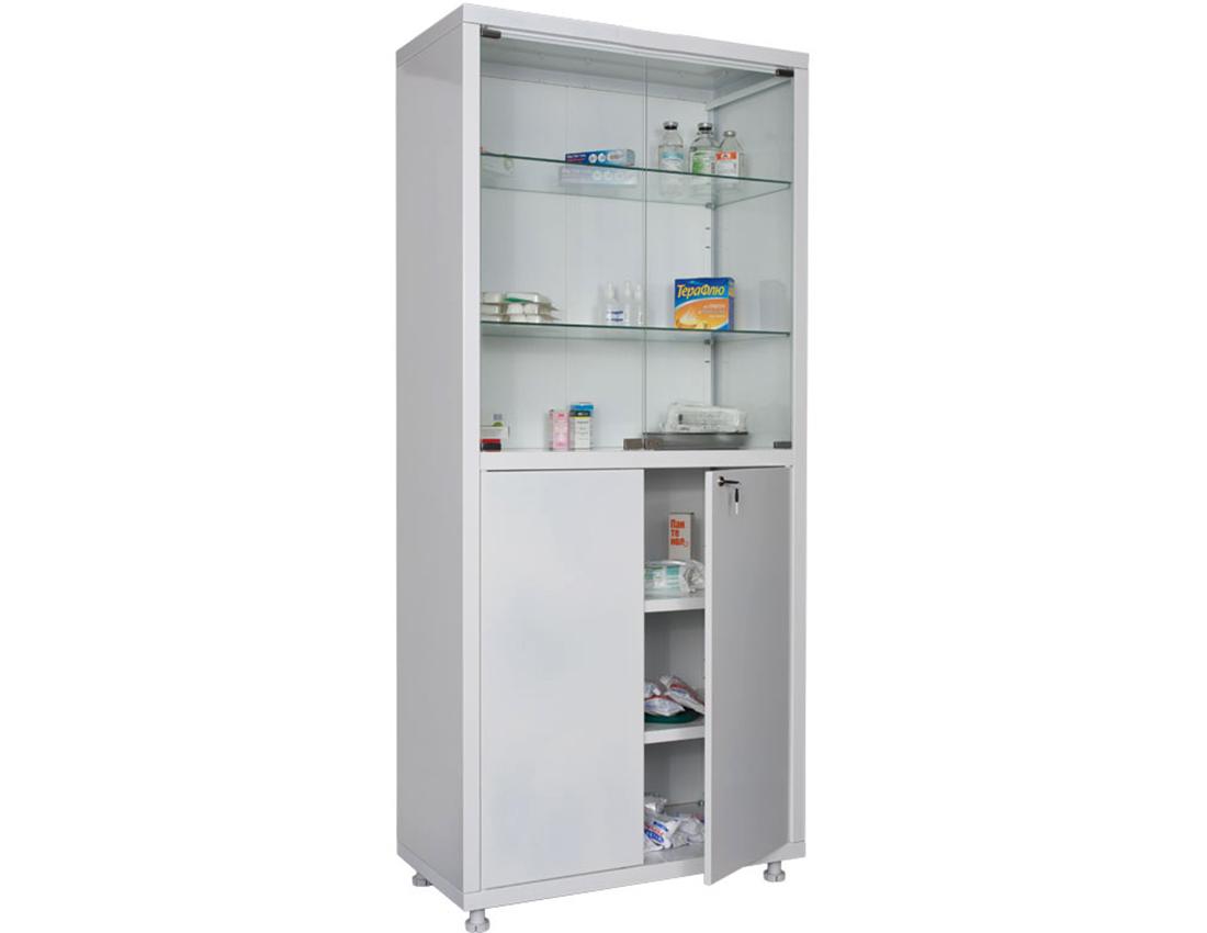 The medicine cabin is glassy