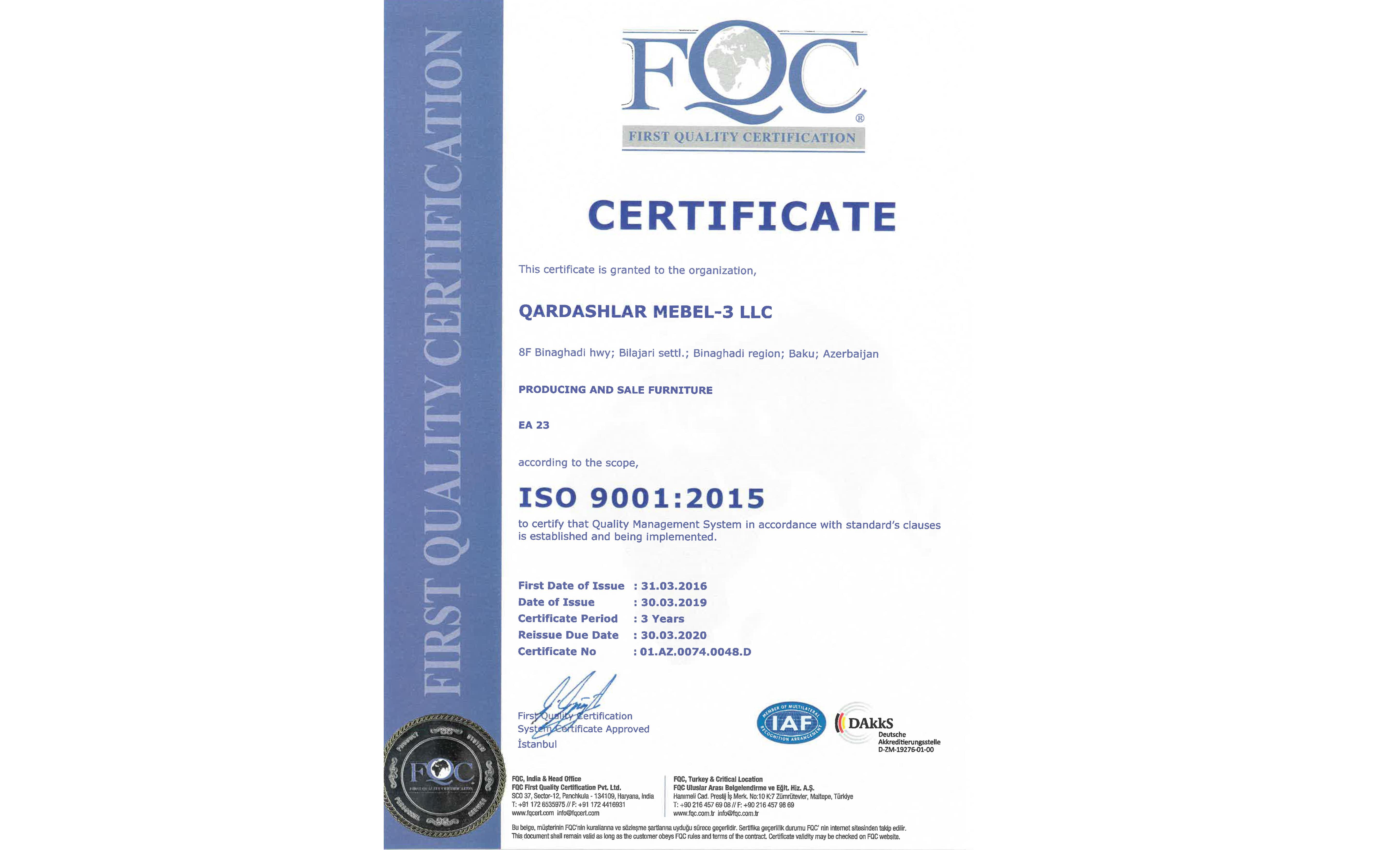 İSO 9001 : 2015 Setfikatı