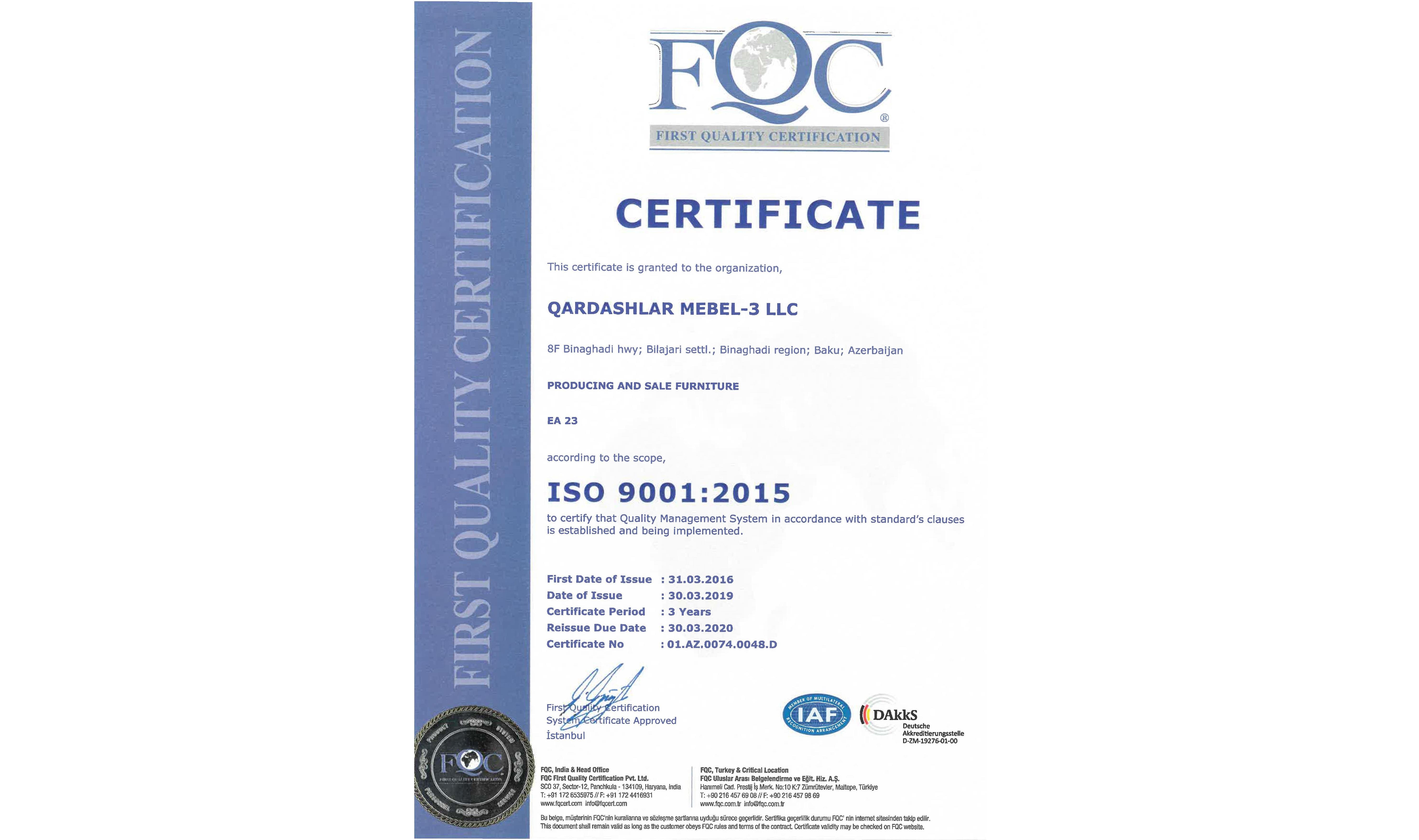 İSO 9001 Sertfikatı